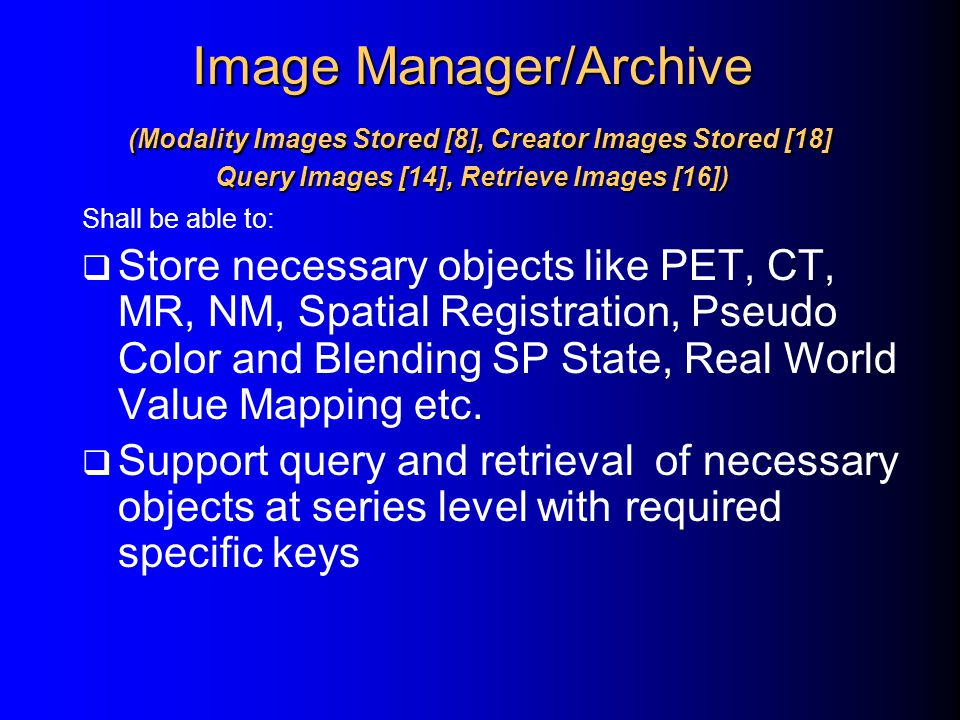 Image Manager/Archive (Modality Images Stored [8], Creator Images Stored [18] Query Images [14], Retrieve Images [16])